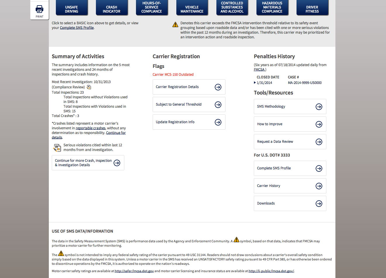 Fmcsa biennial update form for Motor carrier identification report mcs 150
